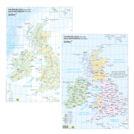 Cartina Inghilterra Per Bambini.Belletti Carta Geografica Fisico Politico Inghilterra Isole Britanniche