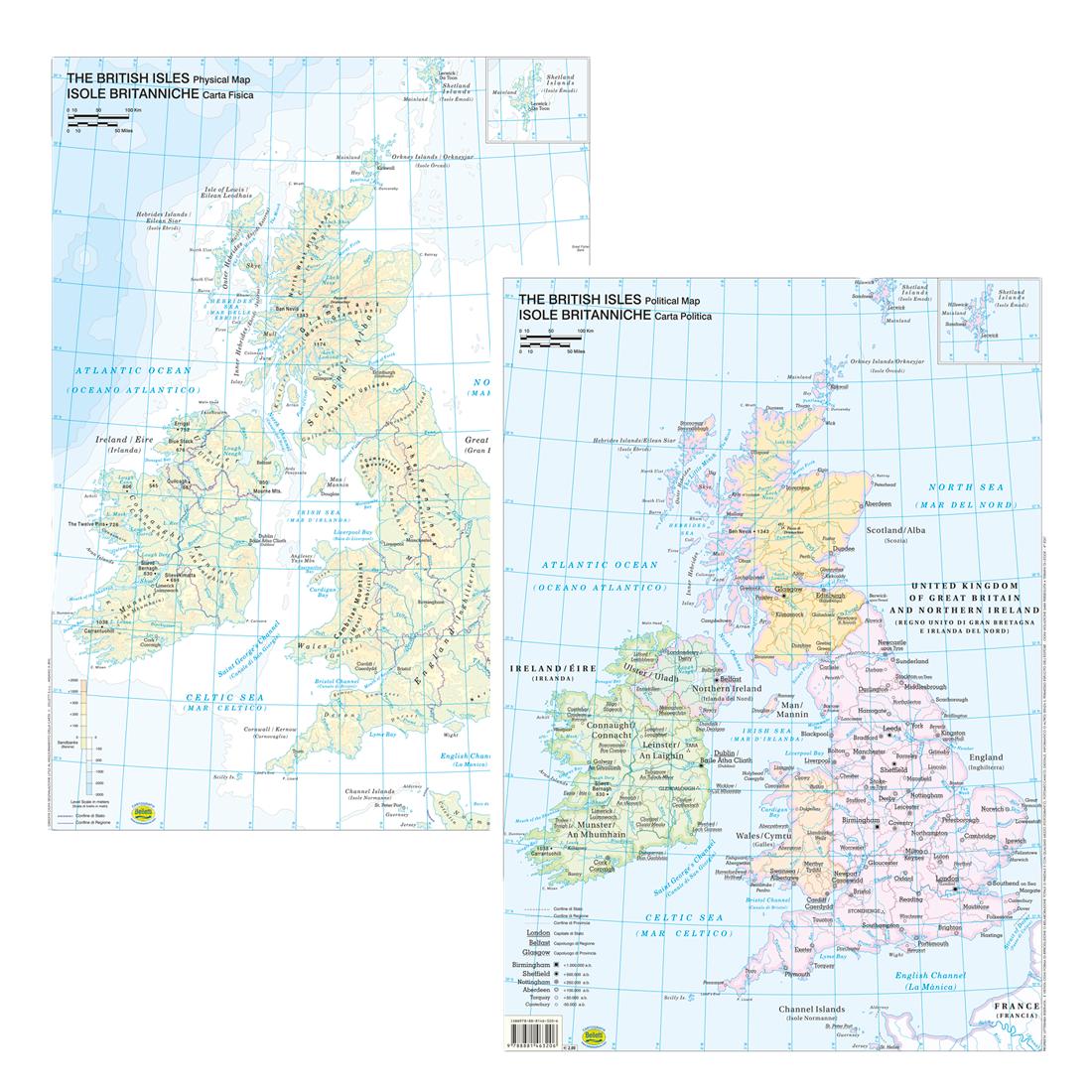 Cartina Muta Isole Britanniche.Belletti Carta Geografica Fisico Politico Inghilterra Isole Britanniche