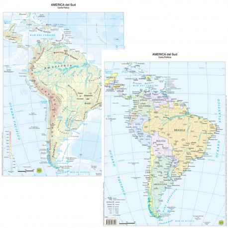 Belletti Carta Geografica America Del Sud Fisico Politico