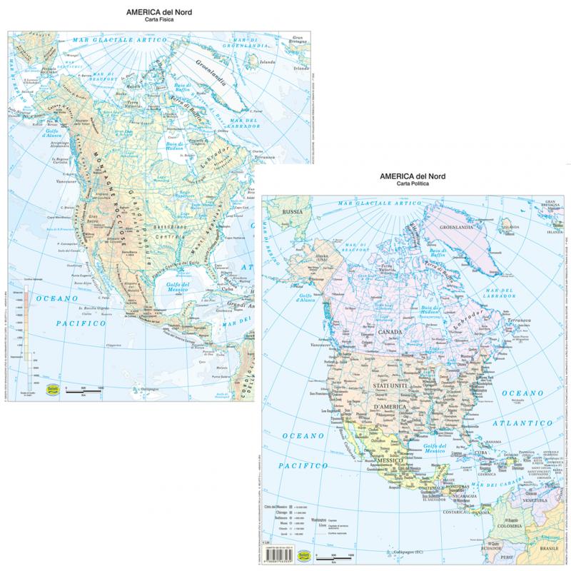 Cartina Fisica Del Nord America.Belletti Carta Geografica America Del Nord Fisico Politico