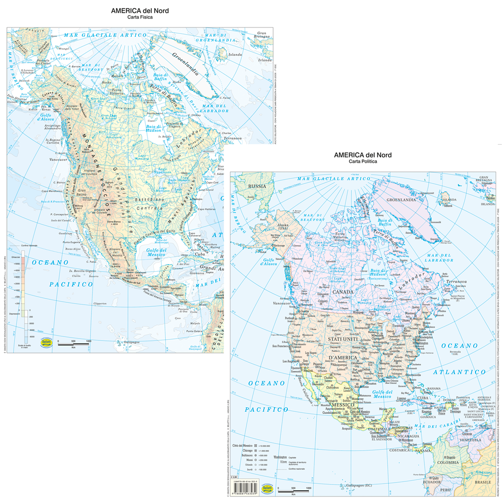 America Politica Cartina.Belletti Carta Geografica America Del Nord Fisico Politico