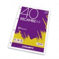 "Ricambi A4 Rigatura ""Q"" 40 fogli da 80g - Blasetti 1213"