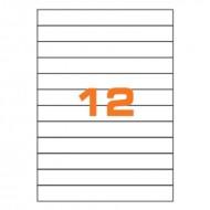 Etichette Permanenti 210x25mm 12 Adesivi 100 Fogli A4 Premium - Idlabel A421025