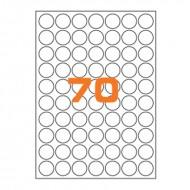 Etichette Permanenti Diametro 26mm 70 Adesivo 100 Fogli A4 Premium - Idlabel A4D26