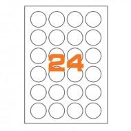 Etichette Permanenti Diametro 40mm 24 Adesivo 100 Fogli A4 Premium - Idlabel A4D40