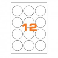 Etichette Permanenti Diametro 60mm 12 Adesivo 100 Fogli A4 Premium - Idlabel A4D60