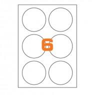 Etichette Permanenti Diametro 85mm 6 Adesivo 100 Fogli A4 Premium - Idlabel A4D85