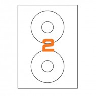 Etichette Permanenti Diametro 117mm 2 Adesivo 100 Fogli A4 Premium - Idlabel A4CD177