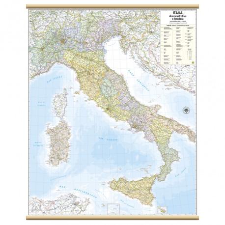 Cartina Italia Stradale Da Stampare.Murale Italia Amministrativa E Stradale Belletti Carta Geografica