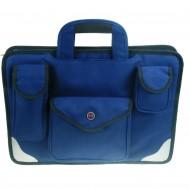 Borsa a Due Soffietti con 3 Tasche e Tracolla Blu in Tessuto poliestere - Wiler F812B