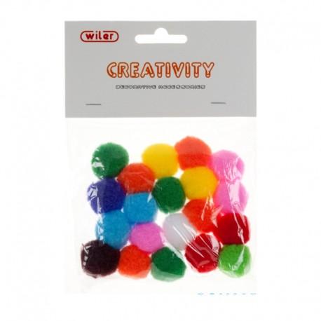Pompon con Glitter Colori Assortiti 25mm - Wiler POM025