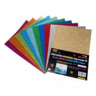 Carta Glitterata Autoadesiva in confezione 10 Fogli Colori Assortiti glitterati Wiler GLP10A