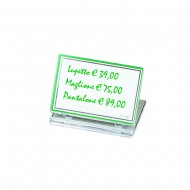 Targhetta Pieghevole in elegante acrilico trasparente 8x5cm per esposizione - Lebez 50978