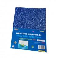 Carta Glitter Blu confezione 10 fogli Wiler GLP10C05