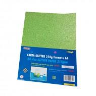 Carta Glitter 10 Fogli Verde chiaro - Wiler GLP10C13