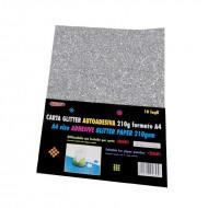 Carta Glitter Argento Autoadesiva 10 Fogli 210g - Wiler GLP10AC01
