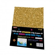 Carta Glitter Oro Autoadesiva 10 Fogli 210g - Wiler GLP10AC02
