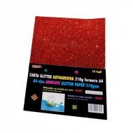Carta Glitter Rosso Autoadesiva 10 Fogli 210g - Wiler GLP10AC04