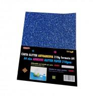 Carta Glitter Blu Autoadesiva 10 Fogli 210g - Wiler GLP10AC05