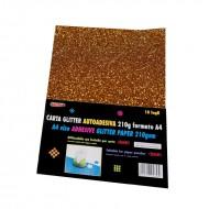Carta Glitter Bronzo Autoadesiva 10 Fogli 210g - Wiler GLP10AC06