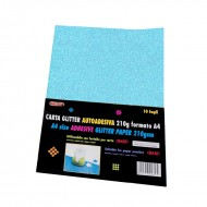 Carta Glitter Azzurro Autoadesiva 10 Fogli 210g - Wiler GLP10AC11