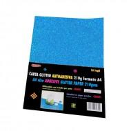 Carta Glitter Blu cielo Autoadesiva 10 Fogli 210g - Wiler GLP10AC12