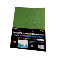 Carta Glitter Verde scuro Autoadesiva 10 Fogli 210g - Wiler GLP10AC24