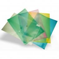 Busta Orizzontale in PP Trasparente Chiusura a Bottone - 5 Colori Assortiti - X001A