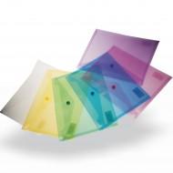 Busta A5 Orizzontale in PP Trasparente Colori Assortiti con Chiusura a Bottone -  X005A