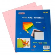 Carta Colorata Rosa 120g Formato A4 100 fogli - Wiler CP120C09
