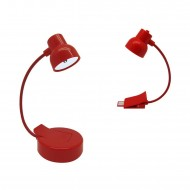Lampada Led portatile con attacco USB pper ricarica colore Rosso - Legami